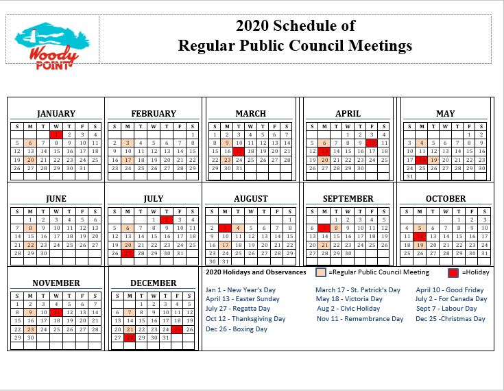 2020 Schedule of Regular Council Meetings